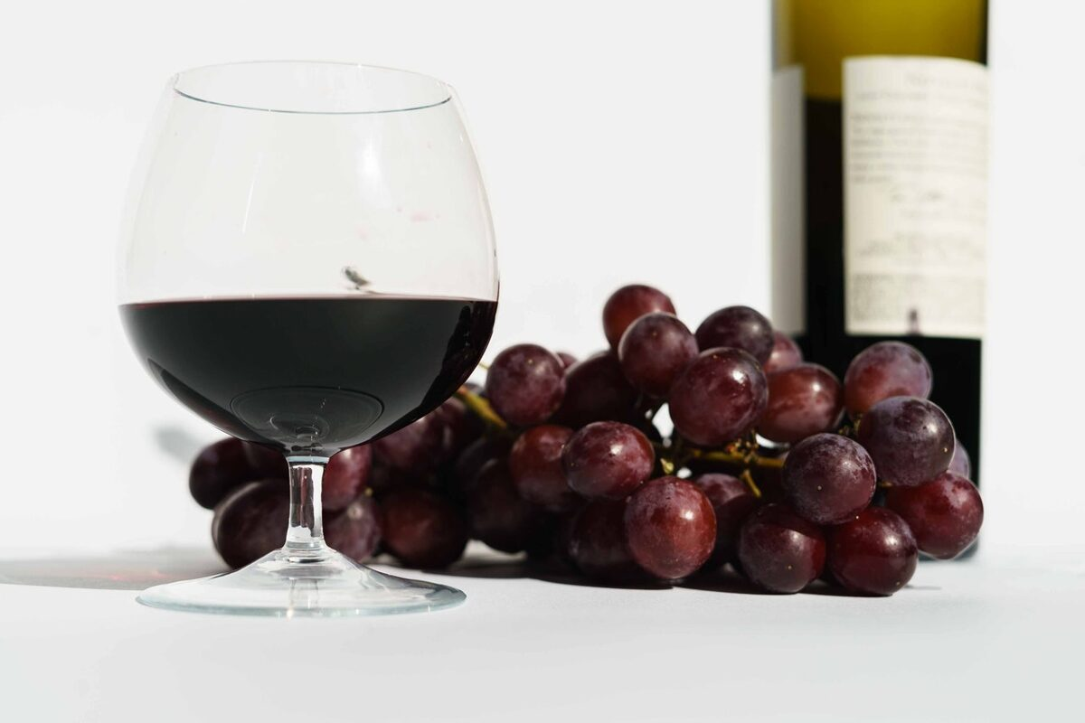copo de vinho tinto com uvas - vinhos de portugal
